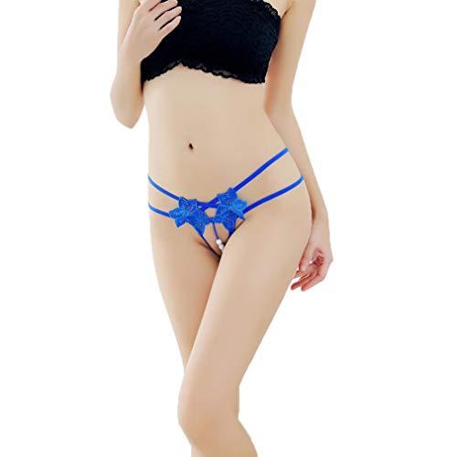 Daygeve Frauen Anhänger Pearl G String V-String Spitze Blumen Höschen Low Waist Unterwäsche (Blau) -