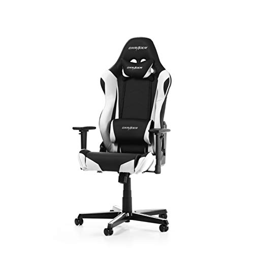 DXRacer (das Original) Racing R0 Gaming Stuhl für PC, ergonomischer Schreibtischstuhl aus Kunstleder, Schwarz-Weiß