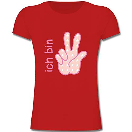 Geburtstag Kind - Ich Bin 3 Mädchen Zeichensprache - 104 (3-4 Jahre) - Rot - F131K - Mädchen Kinder T-Shirt - Geburtstag Bekleidung