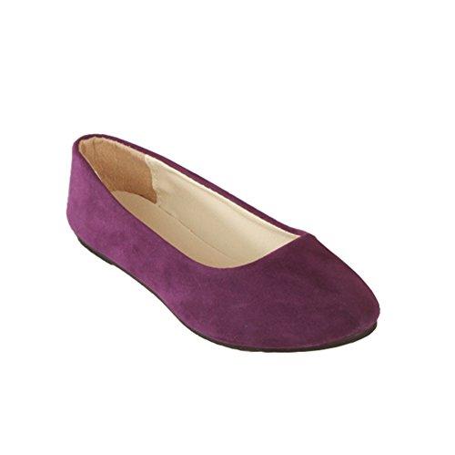 MISSMAO Stiefel Damen Flachschuhe Einzel Schuhe Frauen Sandalen Casual Halbschuhe Comfort Sohle Freizeitschuh Wildleder,Lila,EU 36 (Lila Wildleder)