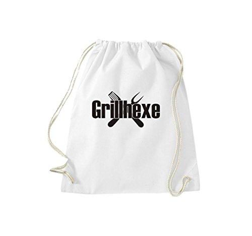 Turnbeutel Grillhexe Grillfest grillen Gymsack Kultsack Weiß