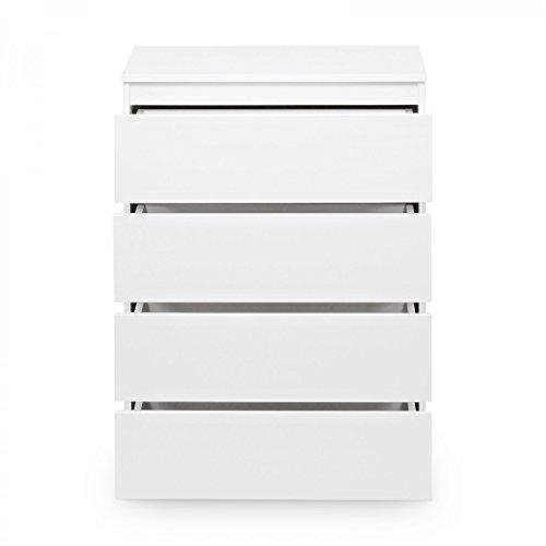 Galdem Kommode mit 4 Schubladen Sideboard Mehrzweckschrank Anrichte Diele Flur Esszimmer Wohnzimmer Weiß - 3