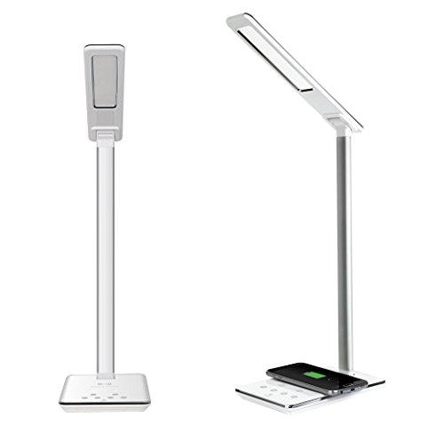 ELTD Tischlampe Schreibtischlampe LED lampe, 5V/1A Output mit 1 port USB Ladegerät, touch control, Wireless Aufladen und Augenschutz LED Schreibtischlampe, Weiß