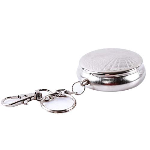 ZENEGO Tragbare Tasche Zigarette aschenbecher im freien Reisen Edelstahl runde zigarrenhalter mit schlüsselbund (Crystal Zigarette Aschenbecher)