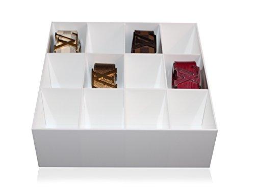 Estellani® Gürtelbox / Krawattenbox, Farbe Weiß, Acryl glänzend, Gürtelaufbewahrung, Krawattenaufbewahrung