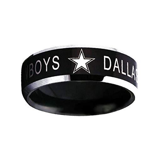 DDG EDMMS Ring Wolframcarbid Dallas Cowboys Muster Schrägring für Herren 7