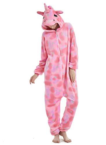 Chenrry Pyjamas Tieroutfit Schlafanzug Snorlax Tier Onesies Weihnachten Sleepsuit mit Kapuze Erwachsene Unisex Overall Halloween Kostüm Pink Star Unicorn XL (Für Erwachsene Pink Kostüm Schlafanzug)