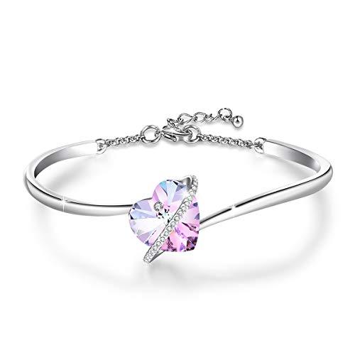 Jösva - braccialetto da donna con ciondolo a forma di cuore, con cristalli swarovski®, anallergici, colore: blu/rosa e placcato oro bianco 18 carati, colore: rosa, cod. jysz003b