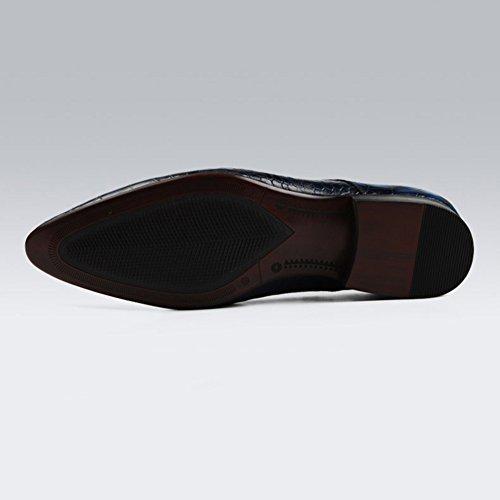 Qiangda Hommes Chaussures Occasionnels Chaussures À Lacets Chaussures Pointu Toe Mode Anti Diapositive, 2 Couleurs En Option (couleur: Bleu, Taille: Eu38 = Uk5.5) Noir
