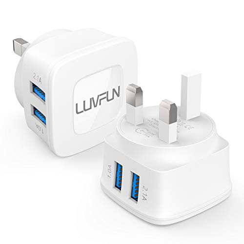 Luvfun Dual USB Charger [5V/2.1A] 2-Port Universal Main Charger USB Charger Plug [1 PACK-White]