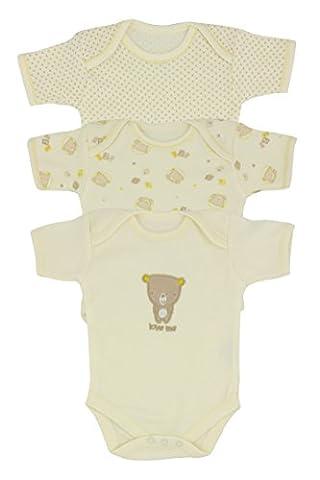 Lot de 3 ours en peluche Pull manches courtes pour bébé, Beige - Beige, 24 mois