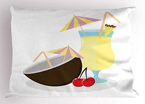 HFYZT Alcohol Pillow Sham, Illustration of Pina Colada Cocktail Coconut and Cherries Exotic Summer Beverages, Decorative Standard King Size Printed Kissenbezug Pillowcase, 18 X 18 Inches, Multicolor -