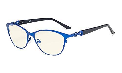 Eyekepper Computerbrillen,Blaue Lichtfilterbrillen,Stilvoll Katzenauge Oval Rahmen Frau,Blau