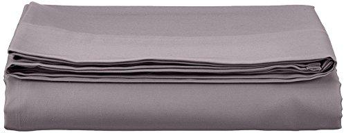 AmazonBasics - Lenzuolo piano, in rasatello di cotone, 400 fili, anti-piega, 280 x 320 + 10 cm - Grigio scuro