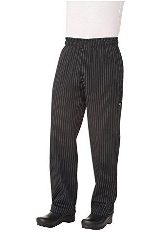 Chef Works Garn Gefärbt Designer Baggy Hose, schwarz und weiß chalkstrip, PINB-000-S Designer Chef-hose