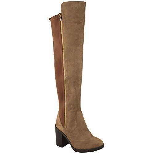 donna tacco largo sopra al ginocchio aderenti, alti stivali invernali stretch gamba larga Mocha Marrone Camoscio Sintetico
