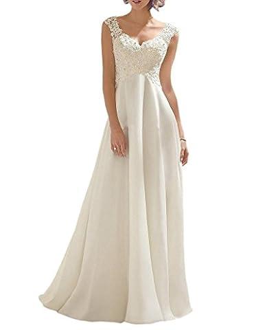 PRTS Damen Spitze V-Ausschnitt Brautkleider Lang A-Linie Chiffon Hochzeitskleid Wei? EUR52