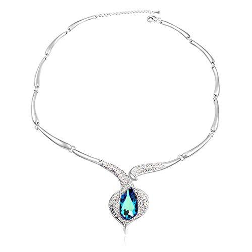 Aoligei Damen/Mädchen Anhänger Halskette Europäischen und amerikanischen Luxus vollständige Schlüsselbeins Kette mit elementaren Kristall Halskette Kartoffel Mädchen Bohren