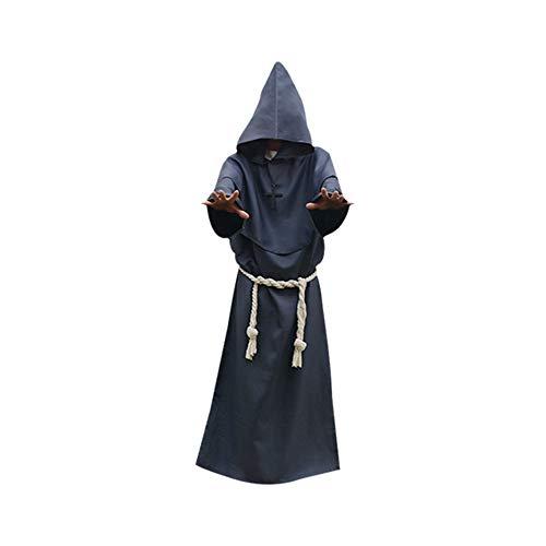 Frmarche Halloween Kostüm Robe Priester Mönch Mittelalter Cosplay Umhang Kapuze Karneval Party Cosplay für Erwachsene Unisex (Grau, XXL(185-190CM))