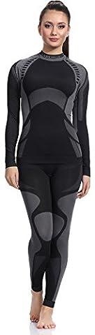 Ladeheid Damen Funktionsunterwäsche Set langarm Shirt lange Unterhose Thermoaktiv (Schwarz/Grau, XL)