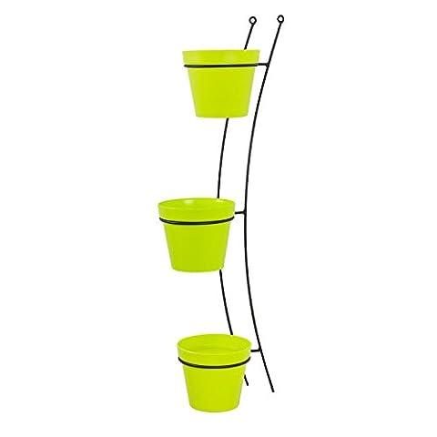 3x Blumentopf Übertopf Topf Patio D 15 cm limetten grün + Aufhänger Wandhalterung Halter