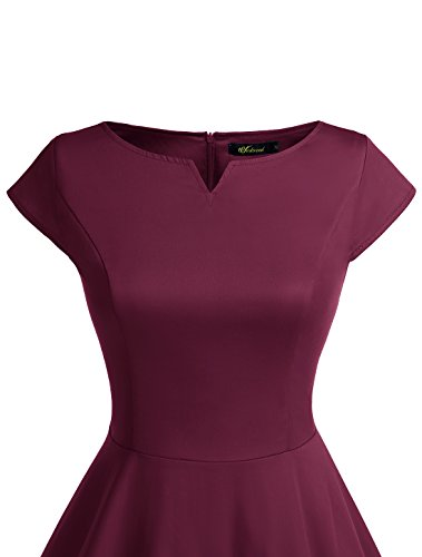 Wedtrend Damen 50er Hepburn Stil Vintage Cap Sleeves Dot Einfarbig Rockabilly Kleid Swing Kleider Burgundy