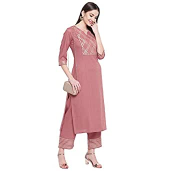 Khushal K Women's Rayon Solid Kurta With Palazzo Set (Small)