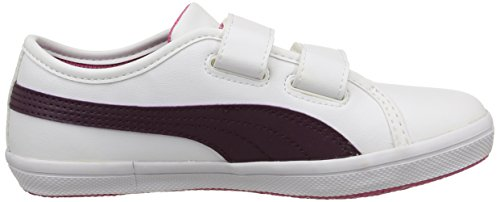 Puma Elsu Sl F, Baskets Basses Mixte Enfant Blanc (White/Italian Plum)