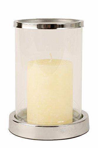 Modernes Windlicht Kerzenständer aus Edelstahl und Glas in silber Höhe 16 cm