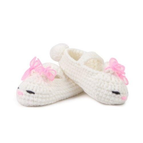 Smile YKK 0-12 mois Bébé Chaussure Tricot Avec Motif 3D Lapin Chaud Souple Pantoufles A la main Blanc