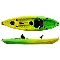 KAYAK DE PESCA AUTOVACIABLE. 295x78x35 cm. Color amarillo y verde. Con asiento, remo de aluminio y dos tambuchos estancos.