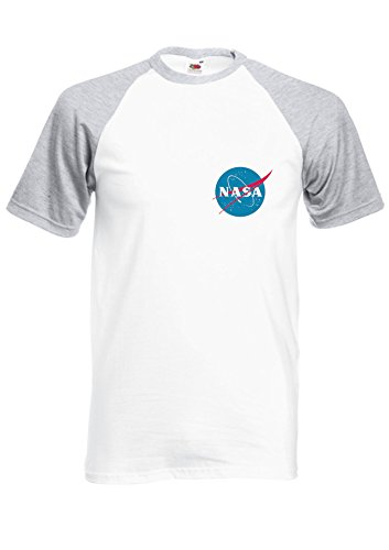 Nasa National Space Packet Pocket America Royal Sports Grey/White Men Women Unisex Shirt Sleeve Baseball T Shirt-S par  NisabellaLTD