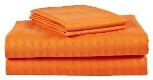 Ägyptische Bedding- Fadenzahl 600, 26, Deep Pocket), 6-teilig Set klein, Orange Gestreifte - 100% ägyptische Baumwolle