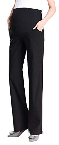 Foucome Schwangerschaftshose für Damen, ausgestelltes Bein, Stiefelschnitt, Stretch, hohe Taille, mit Taschen - Schwarz - S -