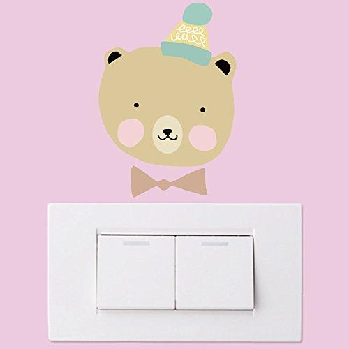 Cartoon Kinderzimmer Schlafzimmer Wohnzimmer Dekoration Schalter Aufkleber Niedlichen Tier Kreative Selbstklebende Notebook Kühlschrank Aufkleber 3 Stücke Bär -