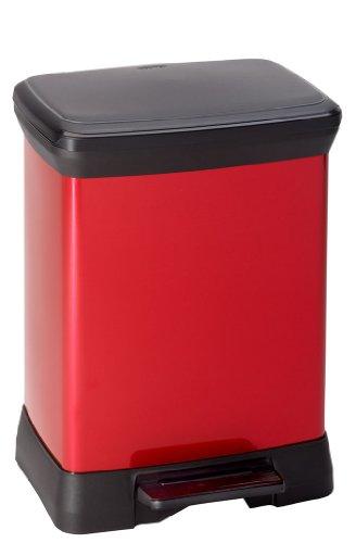 CURVER   Poubelle à pédale rectangulaire 30L Aspect Métal - carton de 2, Métal Rouge, Metal bins, 39x29x50,5 cm