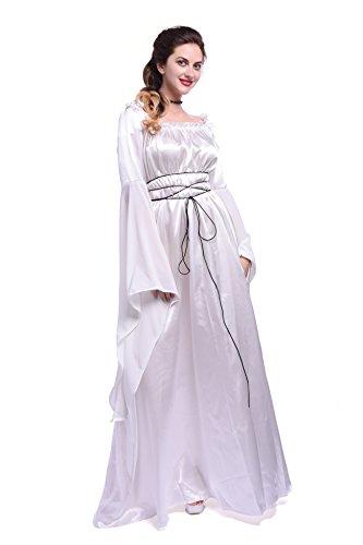 Damen mittelalterliche Königin Kleid schulterfrei Satin Langarm Maxi Kleid Party Kostüm (EU 42, (Kleid Mittelalter Weiss)