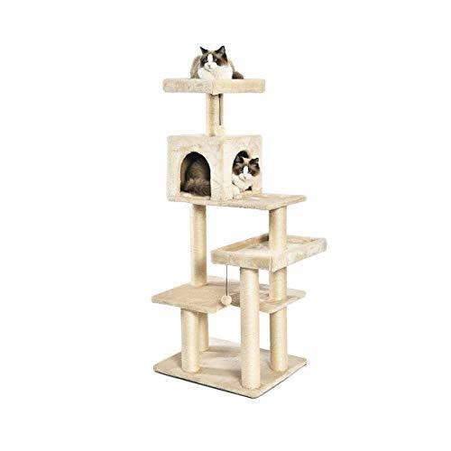 AmazonBasics - Albero per gatti XL con cuccia e torre, 61 x 142,2 x 48,2 cm, beige