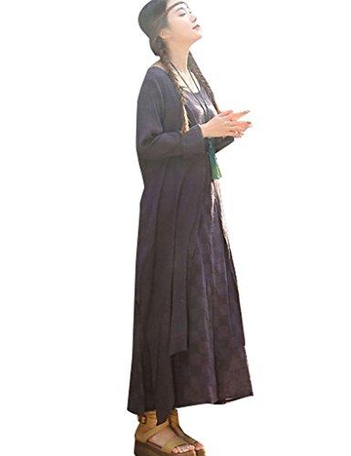 Youlee Frauen Baumwolle Leinen Gefälschte Zwei Stücke Kleid Lila Fit EU 3642