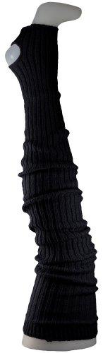 Damen Stulpen schwarz formstabil- Beinwärmer extralang bis Oberschenkel / Overknee schwarz- Ballettstulpen mit Fersenloch
