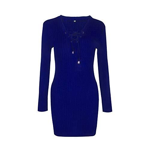 IMJONO Rock Frauen Winter Langarm Strick Pullover Bodycon Kleid(Small,Blau)