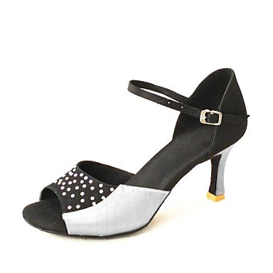 KLM sandali delle donne personalizzabili latino raso con strass scarpe da ballo (più colori) , Yellow , US8.5 / EU39 / UK6.5 / CN40