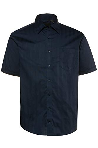 JP 1880 Herren große Größen bis 7XL, Halbarm-Hemd, Struktur-Streifen, Kentkragen & Brusttasche, Modern Fit, Reine Baumwolle Navy XL 714138 70-XL - Fit-blauer Streifen