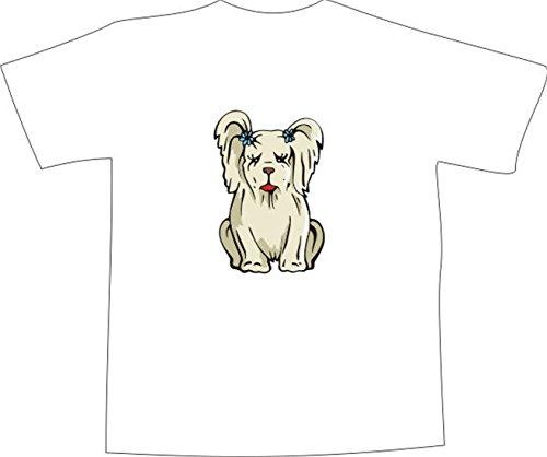 T-Shirt E208 Schönes T-Shirt mit farbigem Brustaufdruck - Logo / Grafik - minimalistisches Motiv - kleiner Hund mit Blumen im Fell Weiß