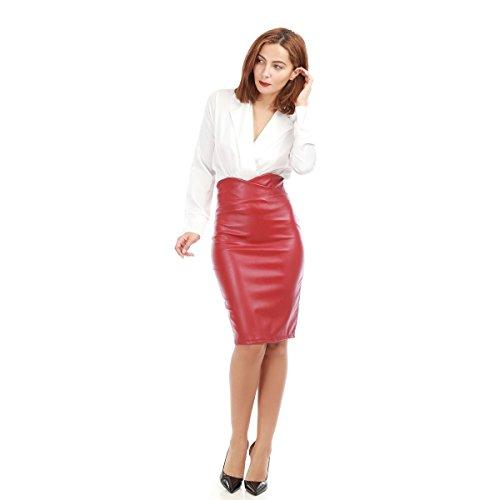 La Modeuse - Jupe crayonmi-longue taille haute en simili cuir Rouge