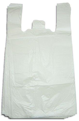 1000 Stück stabile Hemdchentragetaschen / Tragetaschen / Einkaufstüten 30+18x55 cm (B+TxH) - 17 my in verschiedenen Farben (weiß) (17 Tragetasche)