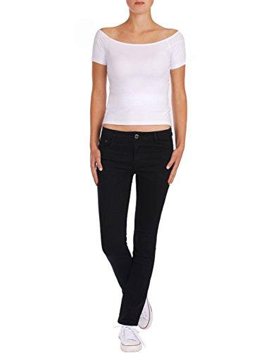 Fraternel Damen Jeans Hose gerade normaler Bund Schwarz
