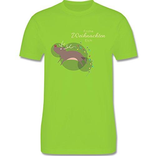 Weihnachten & Silvester - Verrückter Weihnachtselch Frohe Weihnachten - Herren Premium T-Shirt Hellgrün