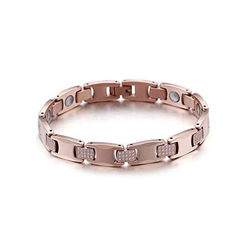 Daesar Charm Armband Wolframcarbid Damen Herren Rosegold mit Magnet Steine Zirkonia Armband Vintage für Beste Freunde 205MM