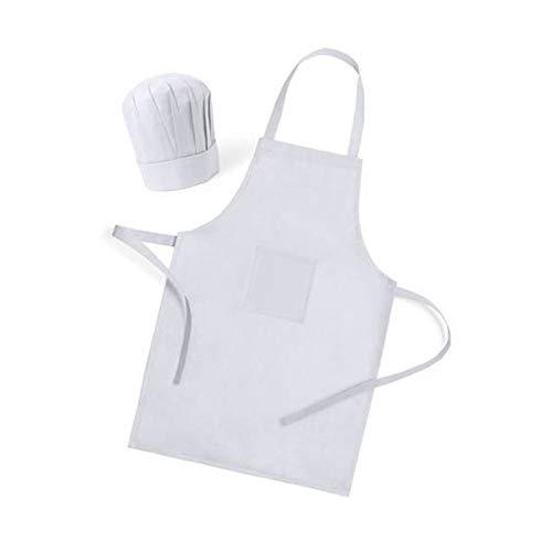 Pack 15 Delantales Color Blanco Gorro Cocinero niños
